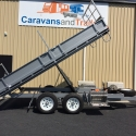 """14' x 6'6"""" Table Top Tipper With Drop Sides Silver Hammertone"""